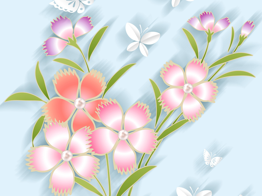手绘小清新花朵花瓶玄关