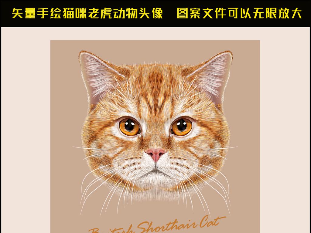 矢量手绘动物头像猫咪老虎卡通公仔设计