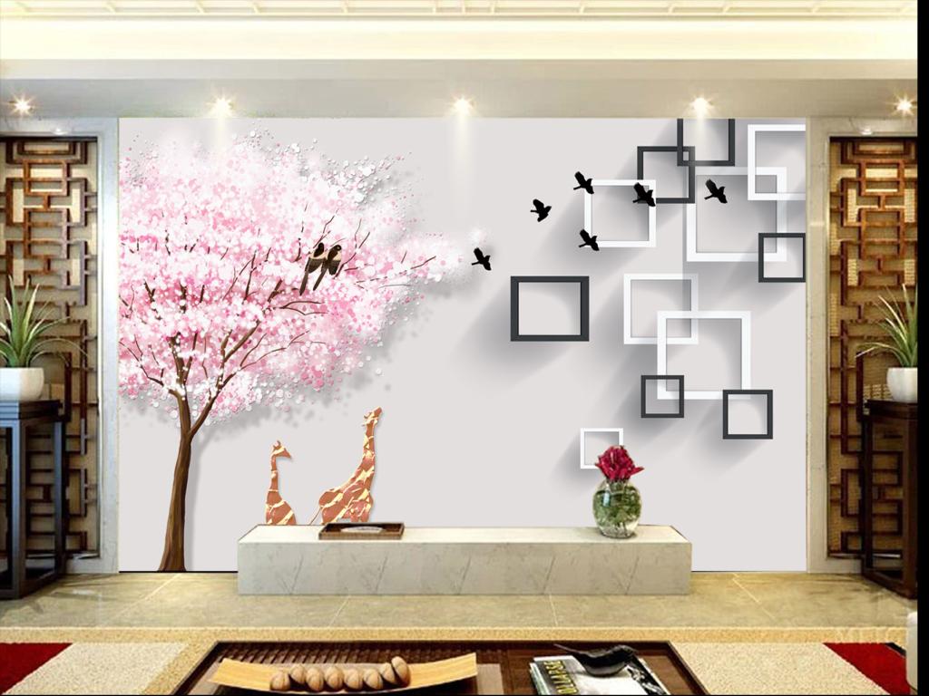 樱花树小鹿3d立体电视背景墙