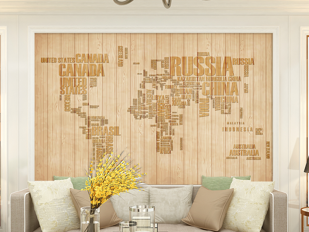 欧式木板条纹字母世界地图背景