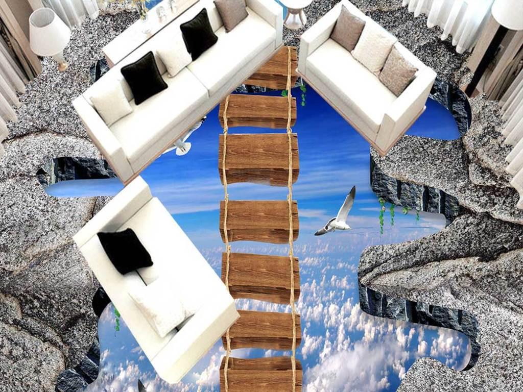 户外客厅天空木桥3d走道地板地画