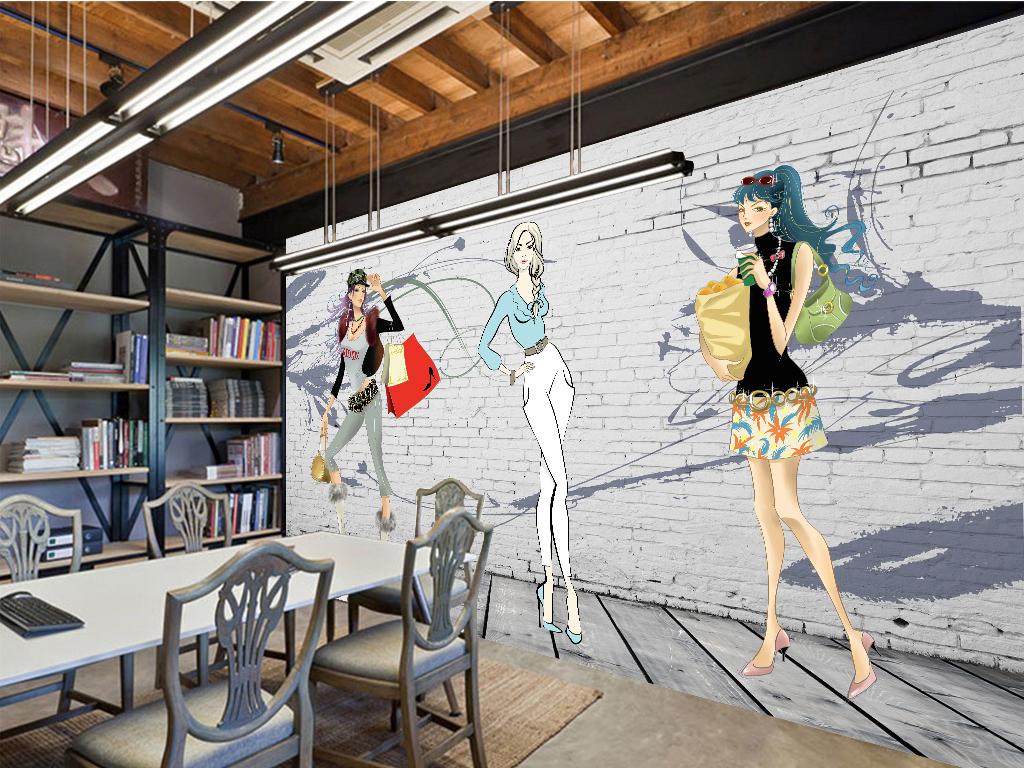 手绘风时装秀背景墙(图片编号:15907044)_卖场 服装店