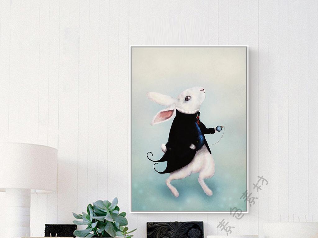 绅士兔子现代简约手绘动物装饰画