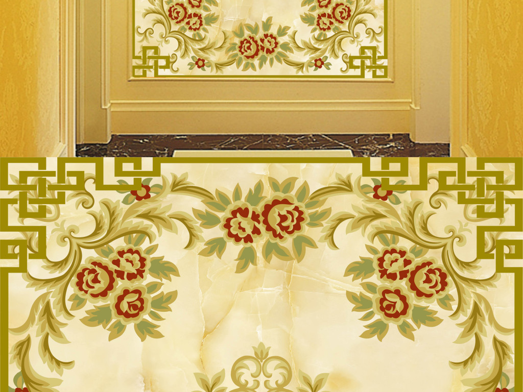 欧式花纹玄关装饰画素材