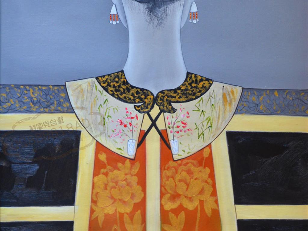 画人物发饰中式高清背影中式古典古装古典中式系列高清中式玄关背景