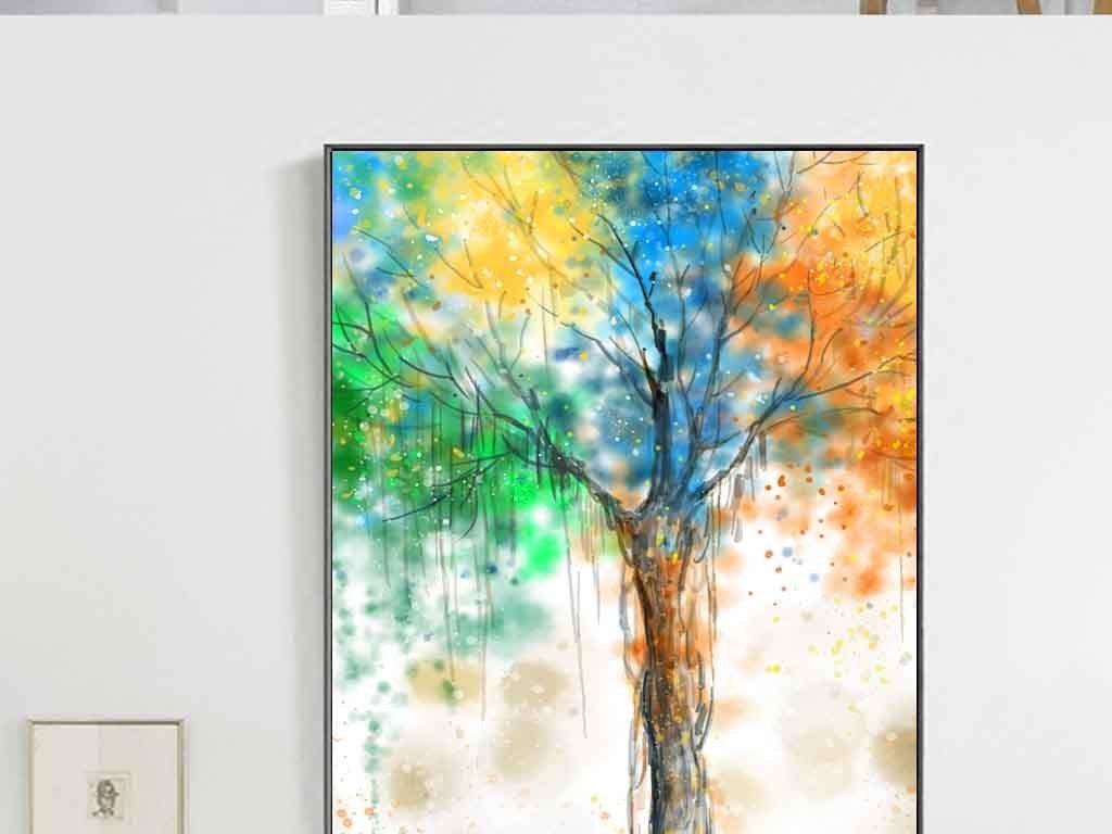手绘北欧抽象发财树油画客厅装饰画
