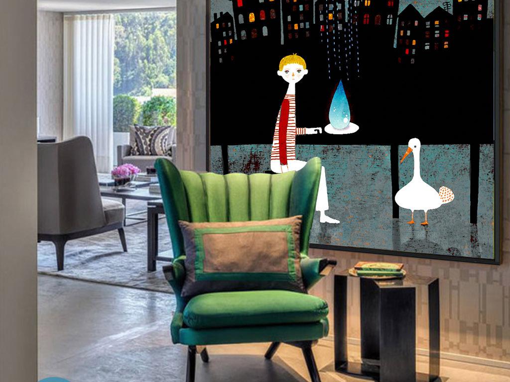 夜晚城市天台欧式现代抽象手绘客厅装饰画