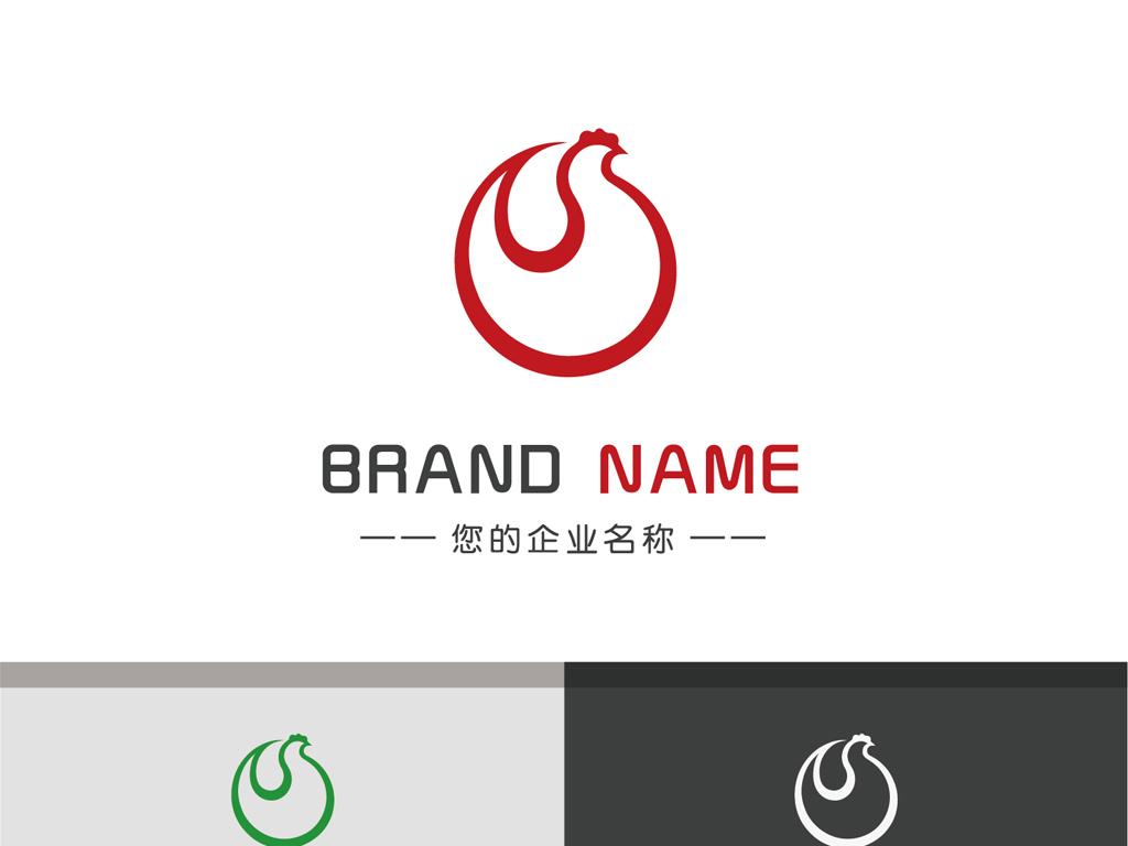 创意手绘小鸡logo线条简约标志设计