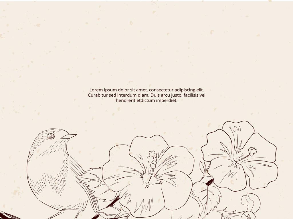 鲜花手绘图案设计模板                                  背景底纹平