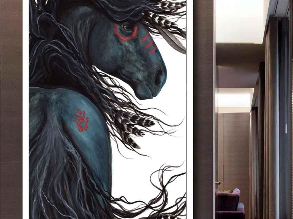抽象画油画手绘动物画马黑马美式油画玄关手绘背景印第安现代手绘油画