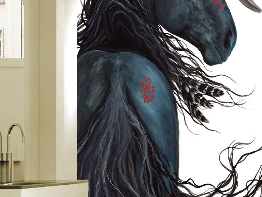 手绘印第安黑骏马油画现代玄关