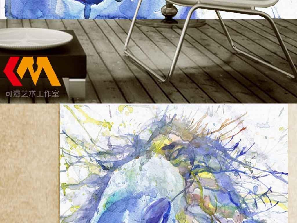 手绘水彩马客厅现代玄关背景