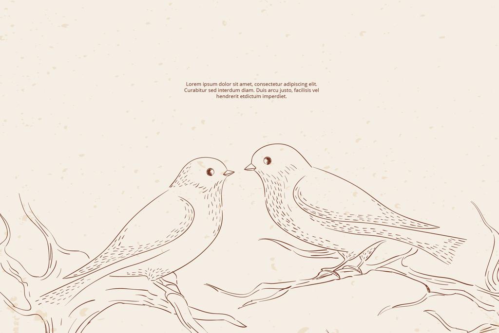 小鸟鲜花手绘图案设计模板
