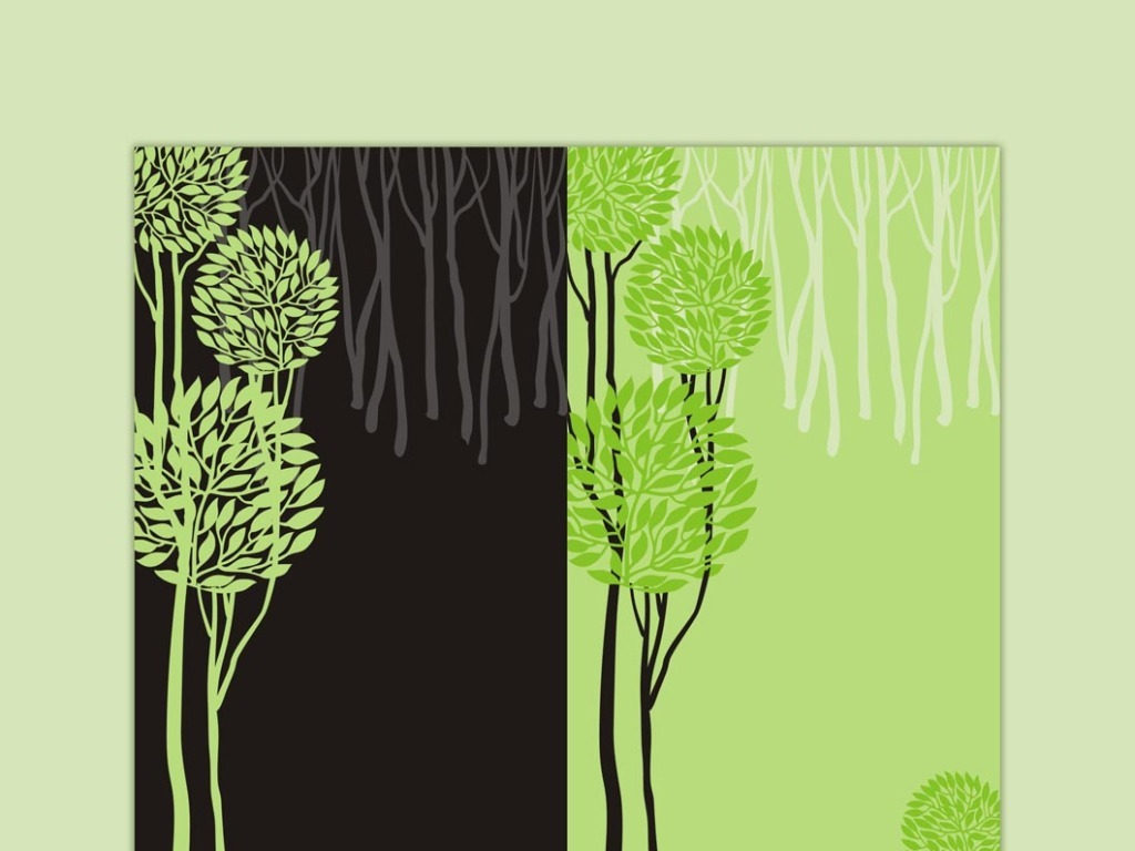 手绘水彩卡通树木矢量素材tree修长树木