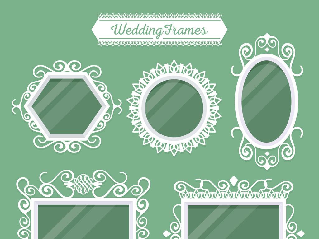 欧式花纹框婚礼花纹图框边框模板