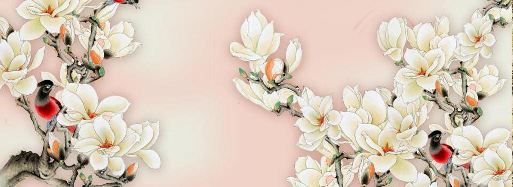 中式手绘玉兰花电视背景墙