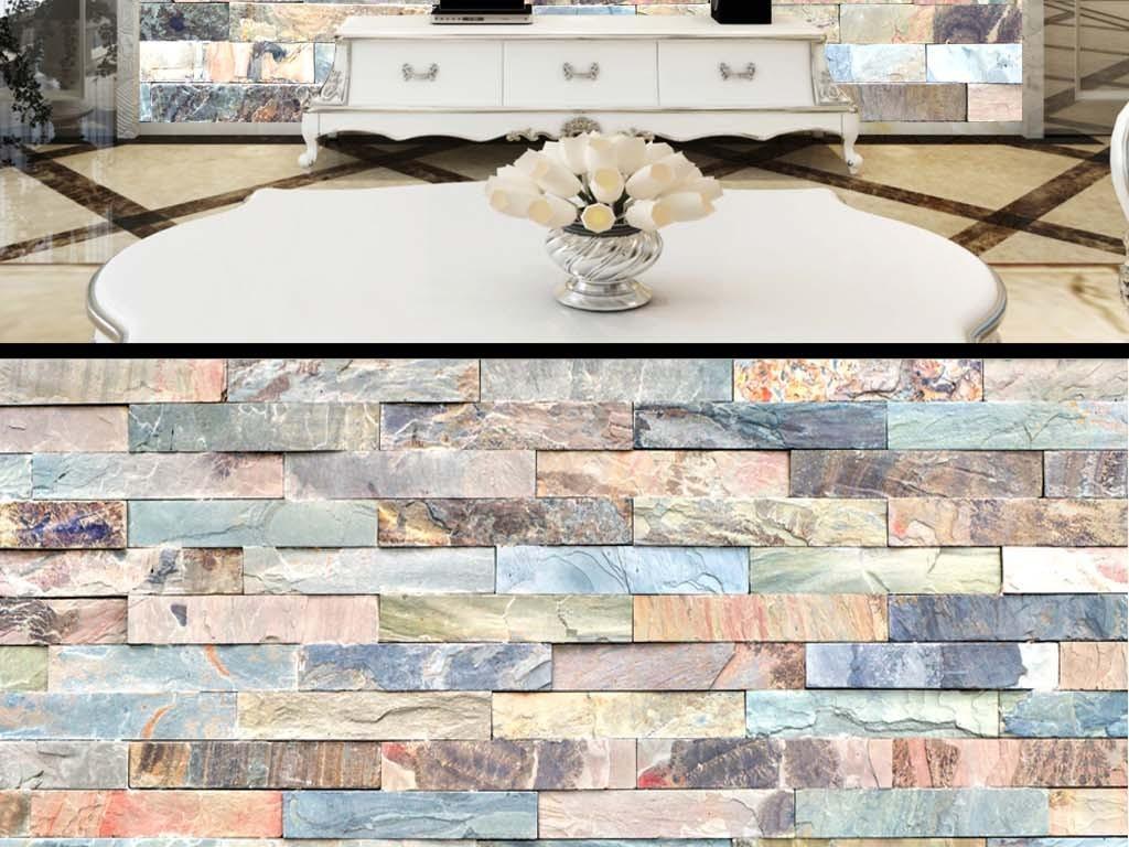 欧式砖块木板墙纸