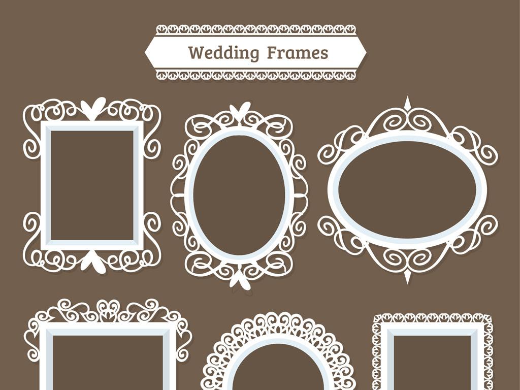 平面|广告设计 其他 设计素材 > 欧式花纹框婚礼花纹图框边框模板