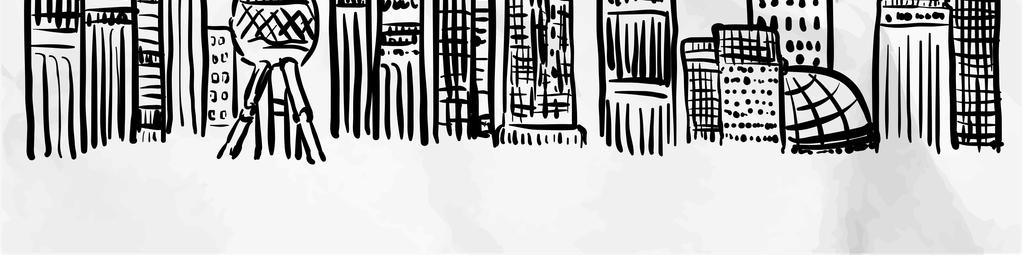 黑白手绘建筑物简体画