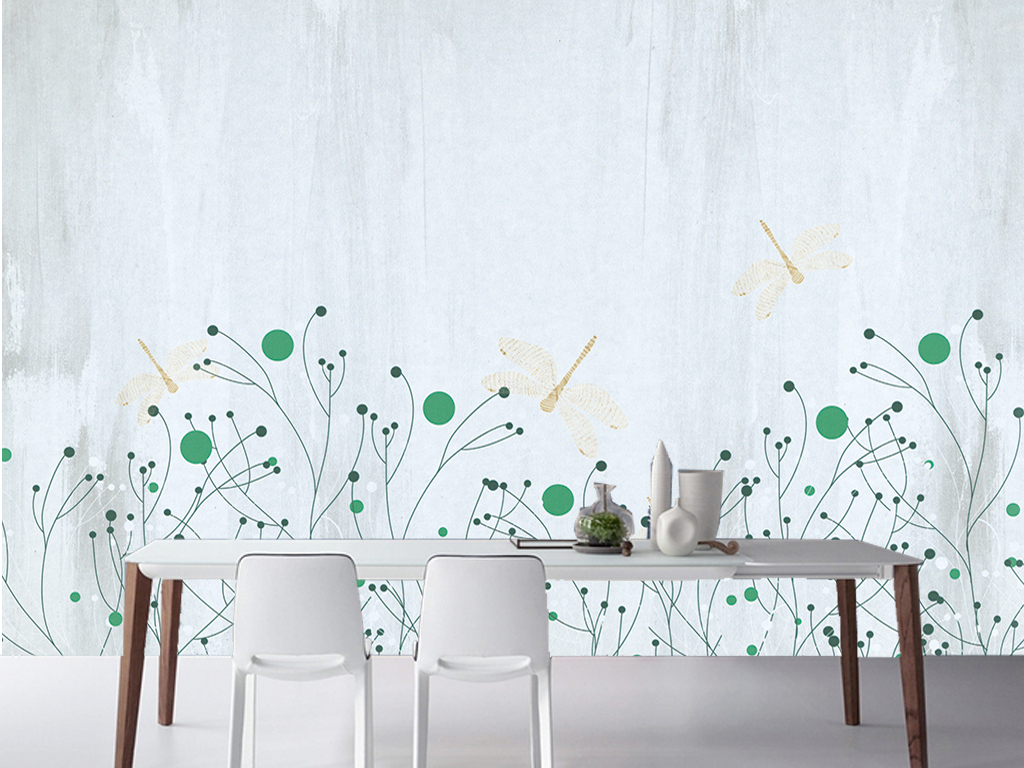 背景墙|装饰画 电视背景墙 手绘电视背景墙 > 清新美式田园蜻蜓花卉