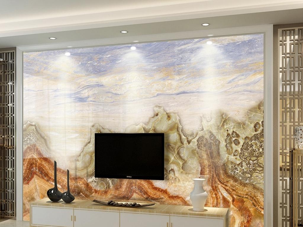 大理石纹山水江山电视背景墙