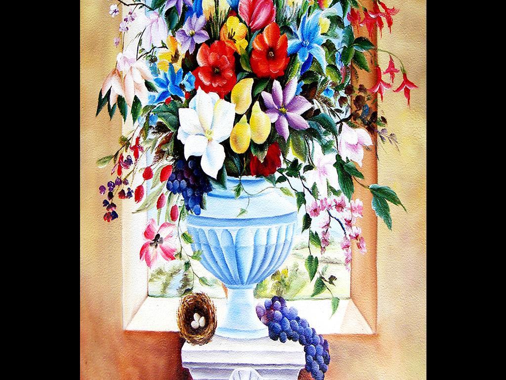 油画花瓶立体窗玄关