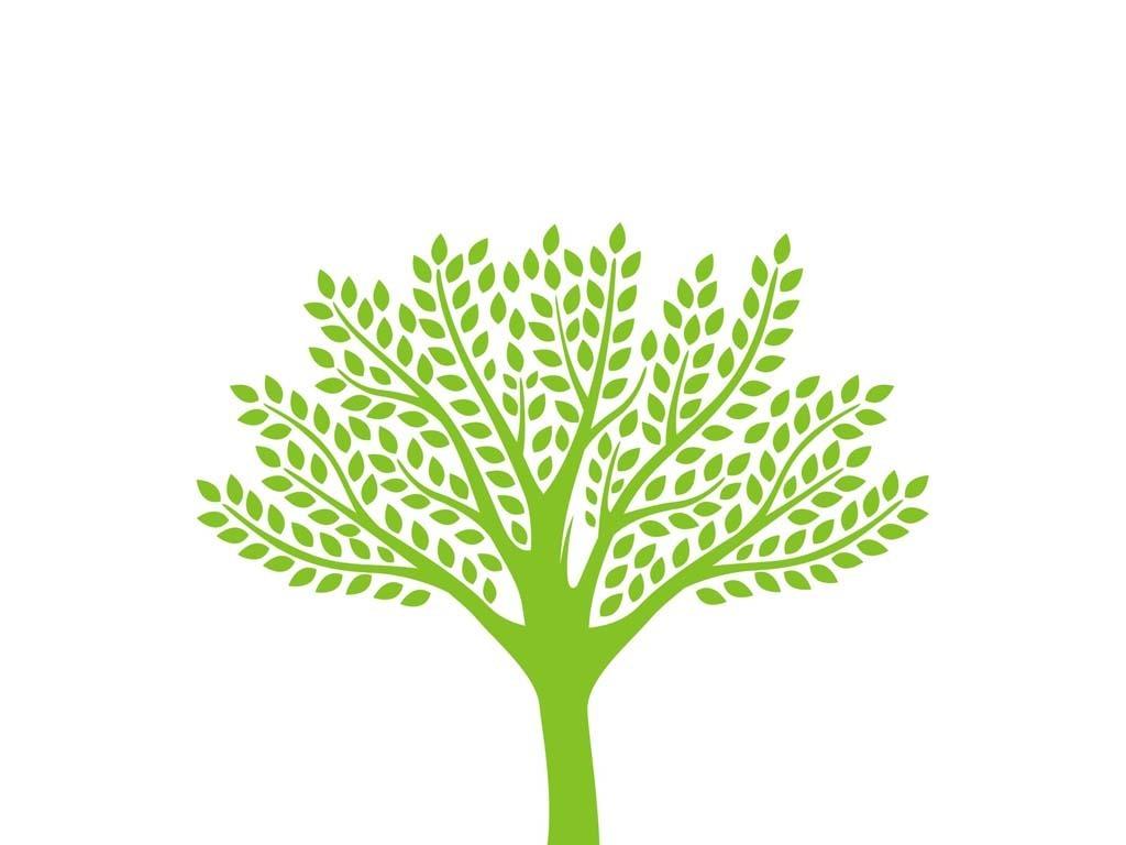 卡通可爱树木树林小树林森林树冠树叶绿叶分枝树木