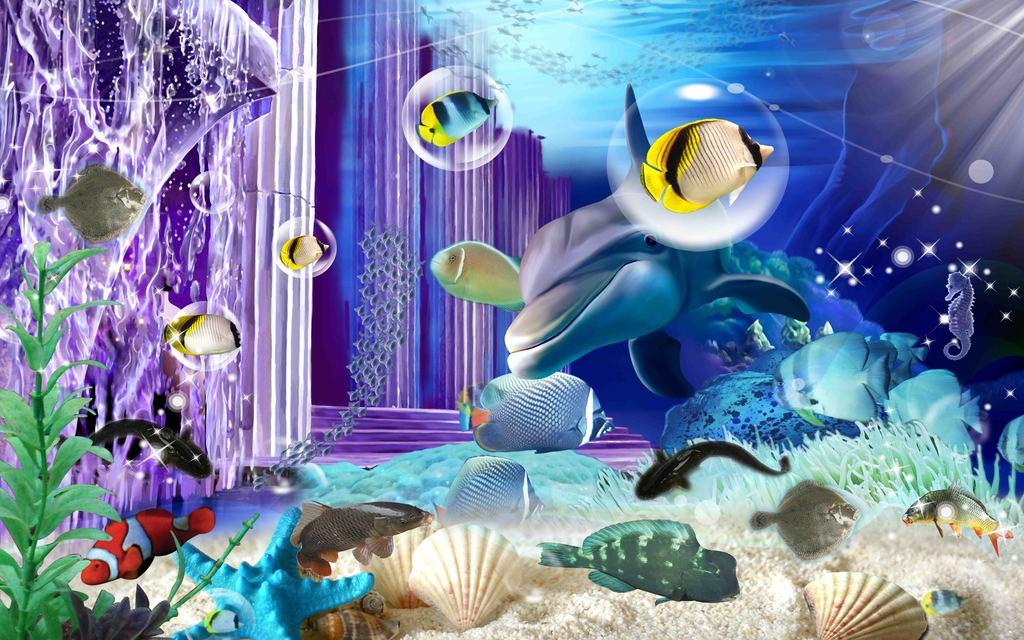 海底世界高清电视背景墙