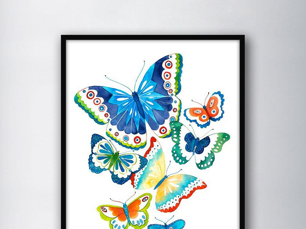美丽的蝴蝶北欧小清新欧式手绘家居装饰画