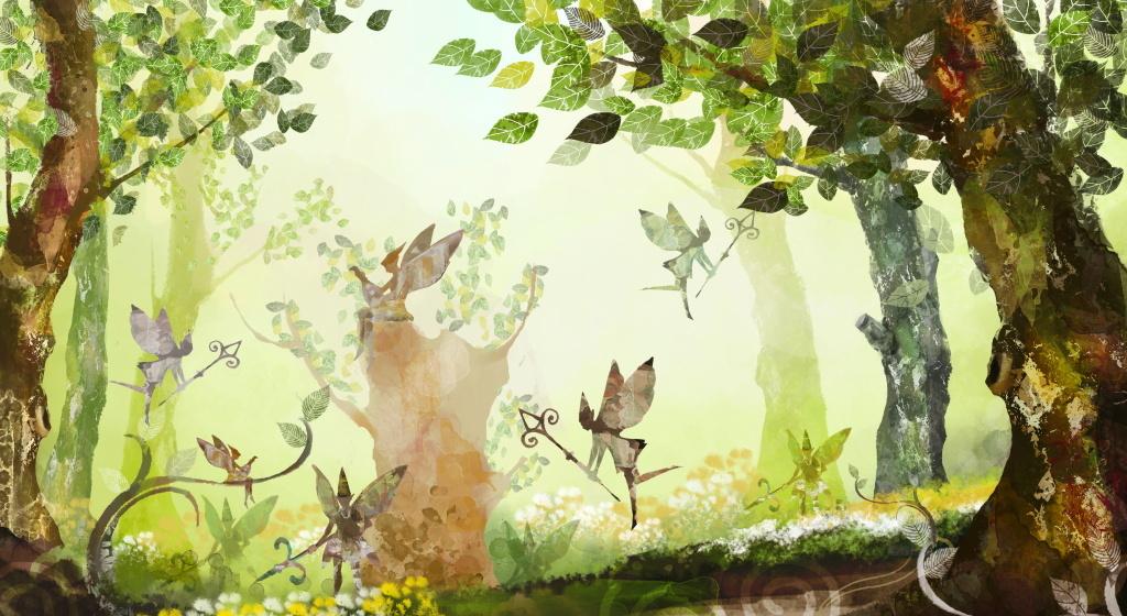 神秘森林里的小精灵翩翩起舞水彩插画设计图