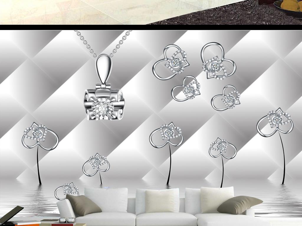 爱心钻石唯美花朵背景墙图片设计素材_高清psd模板(51
