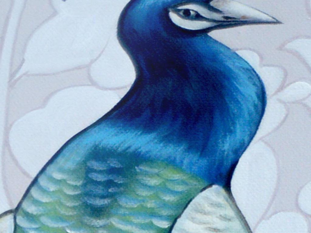 高清欧式底纹孔雀玄关装饰画