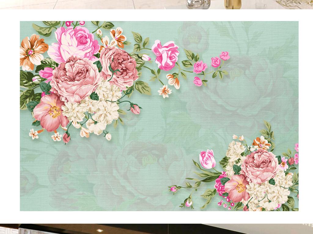 欧式背景墙壁纸客厅电视背景墙玫瑰花