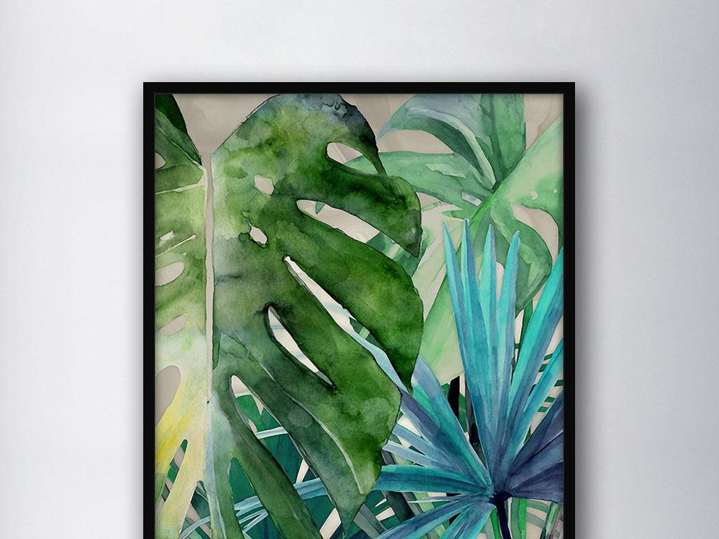 热带树叶北欧小清新现代欧式手绘室内装饰画