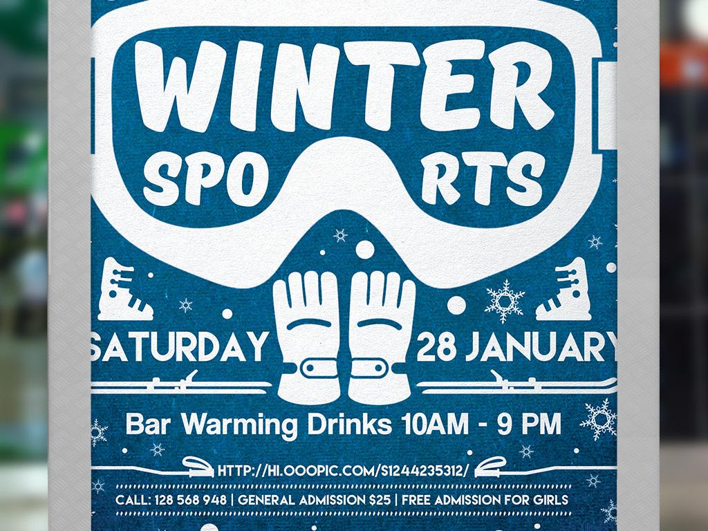 海报设计 创意海报 国外创意海报 > 手绘文艺活力冬季户外运动俱乐部