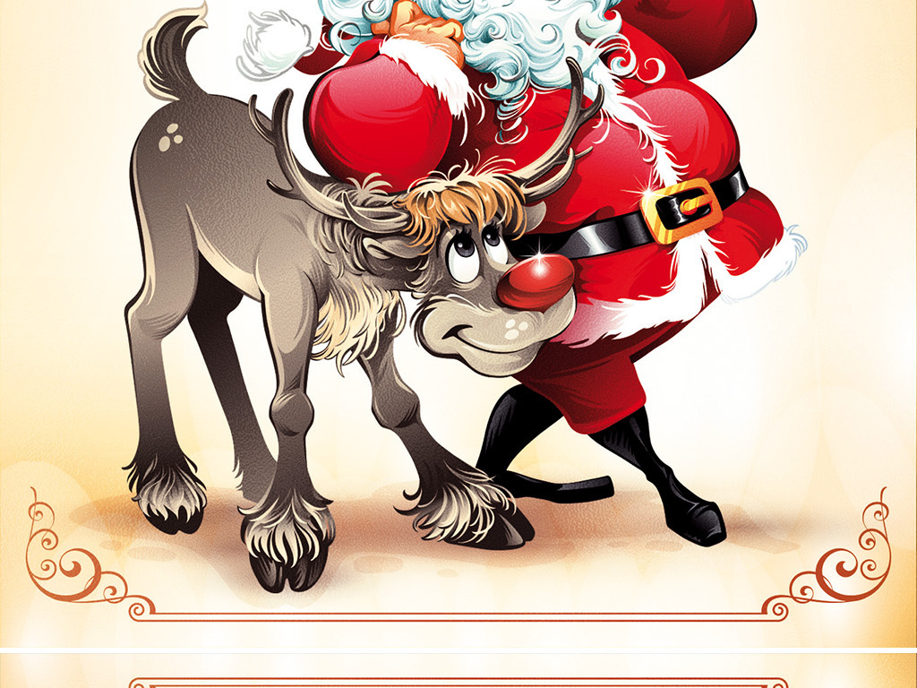 怀旧文艺手绘卡通圣诞节贺卡传单海报展板