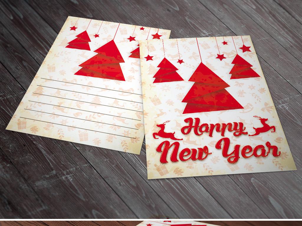 怀旧文艺手绘卡通圣诞新年贺卡传单海报展板