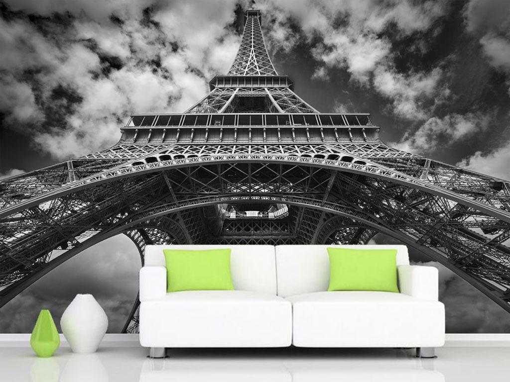 设计作品简介: 高清黑白埃菲尔铁塔背景墙 位图, rgb格式高清大图
