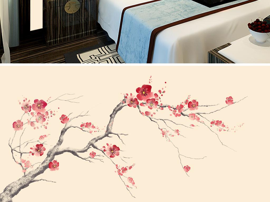 梅花手绘花鸟工笔花鸟新中式背景墙中式装饰图片