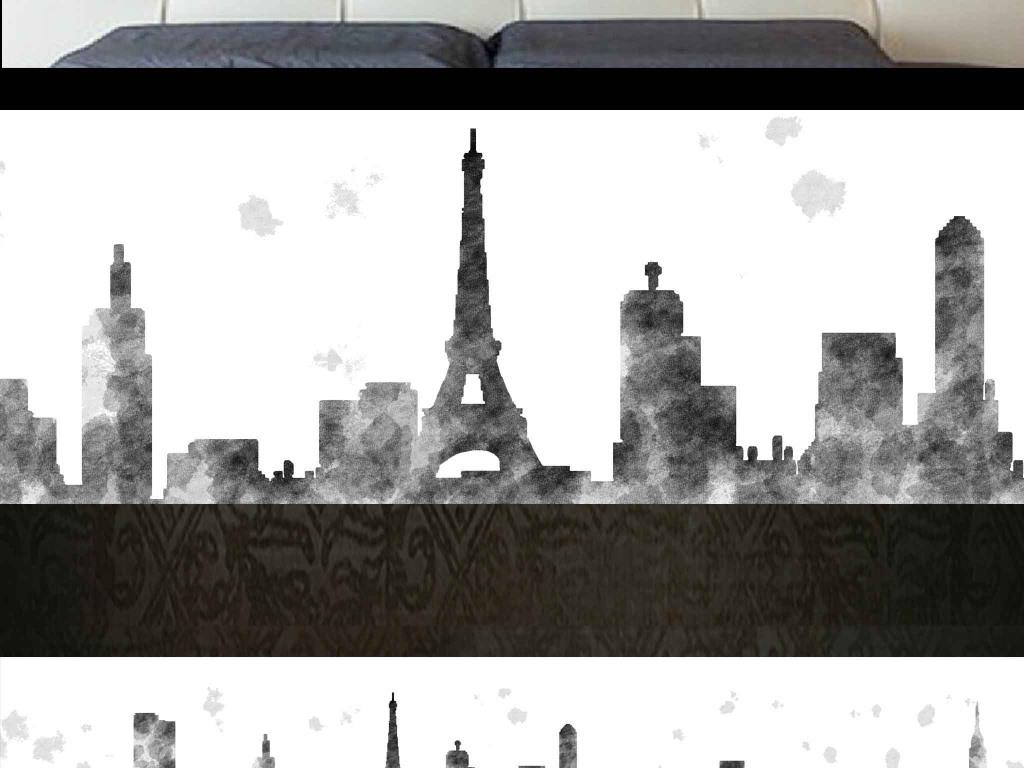 欧式抽象巴黎埃菲尔铁塔城市卧室床头画