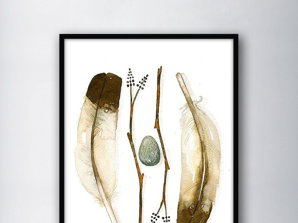 画石头装饰画北欧复古无框画装饰画水彩画水彩挂画
