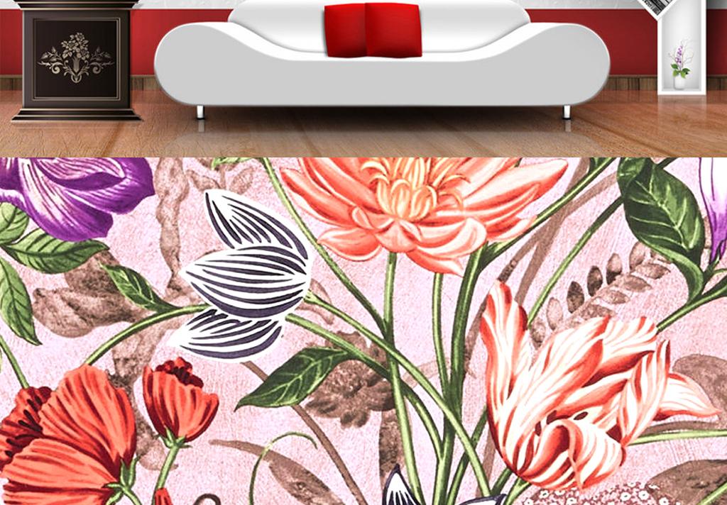 牵牛花手绘花藤花手绘墙手绘花卉花手绘蔷薇花手绘花