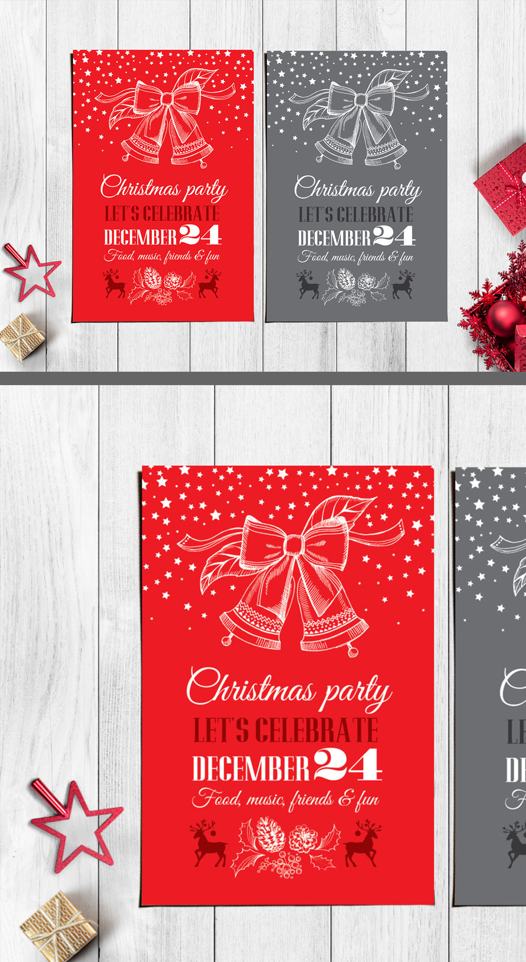 圣诞节手绘贺卡传单海报酒水单菜单设.