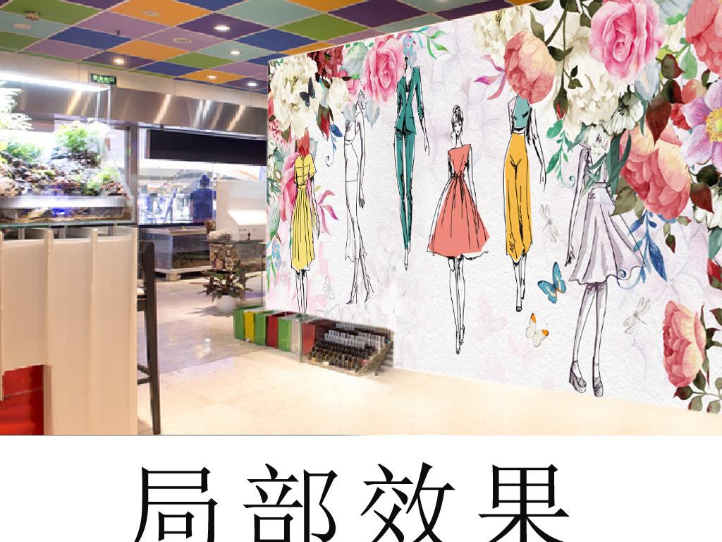 壁纸现代时尚手绘欧美水彩墨迹时装秀香水店美容店化
