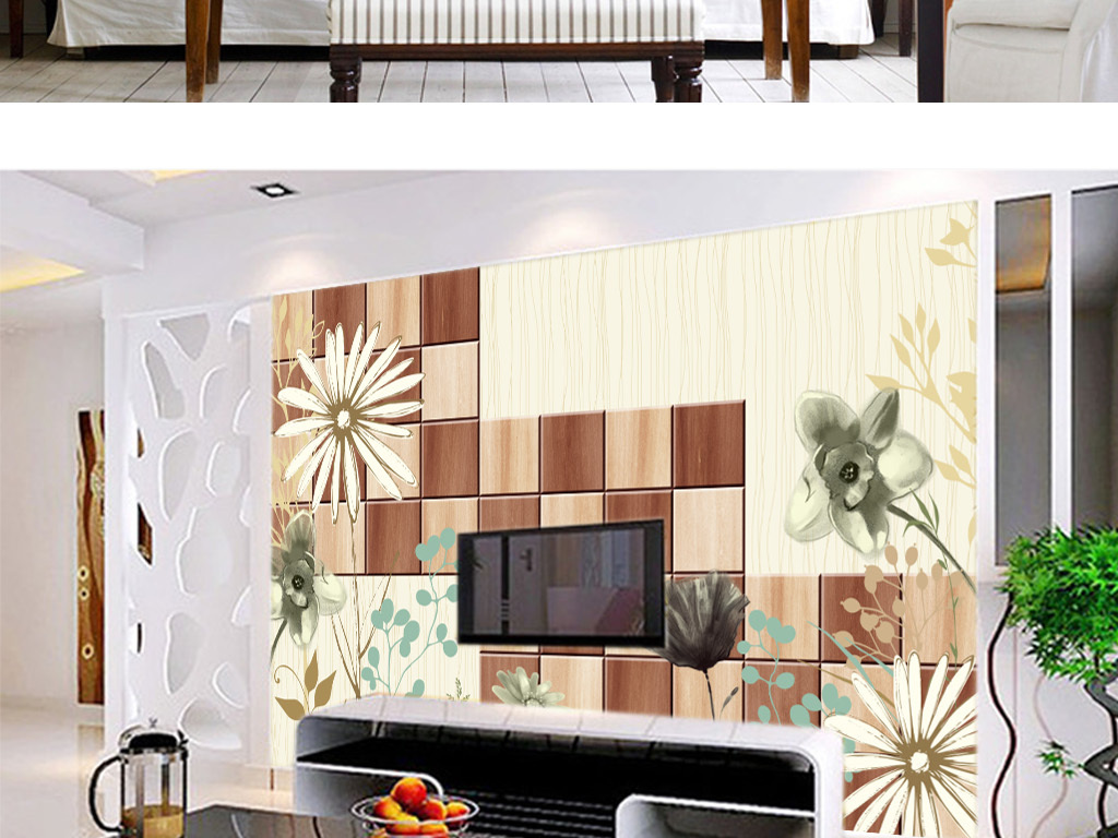 手绘墨迹花卉欧式复古木板背景墙壁画