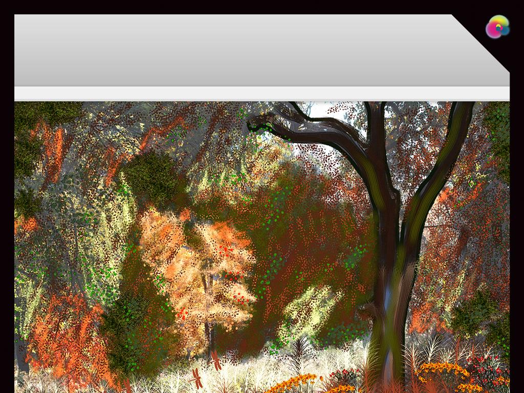 手绘怀旧抽象树林沙发背景墙