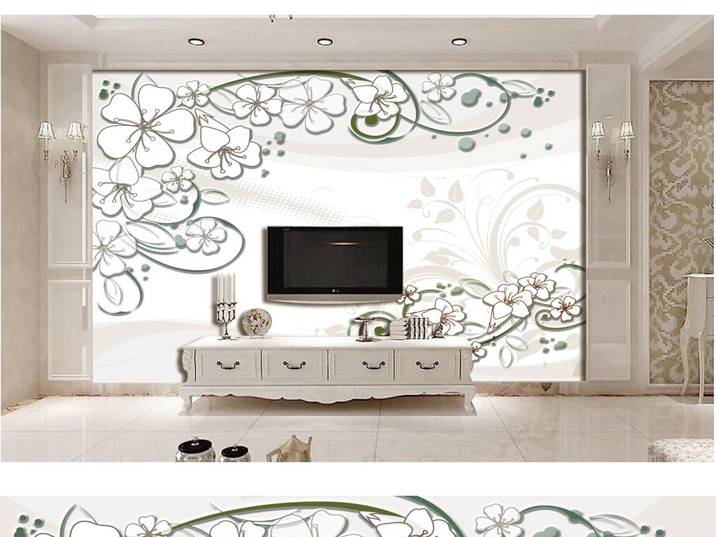 最新简约手绘线条五瓣花百合电视背景墙下载