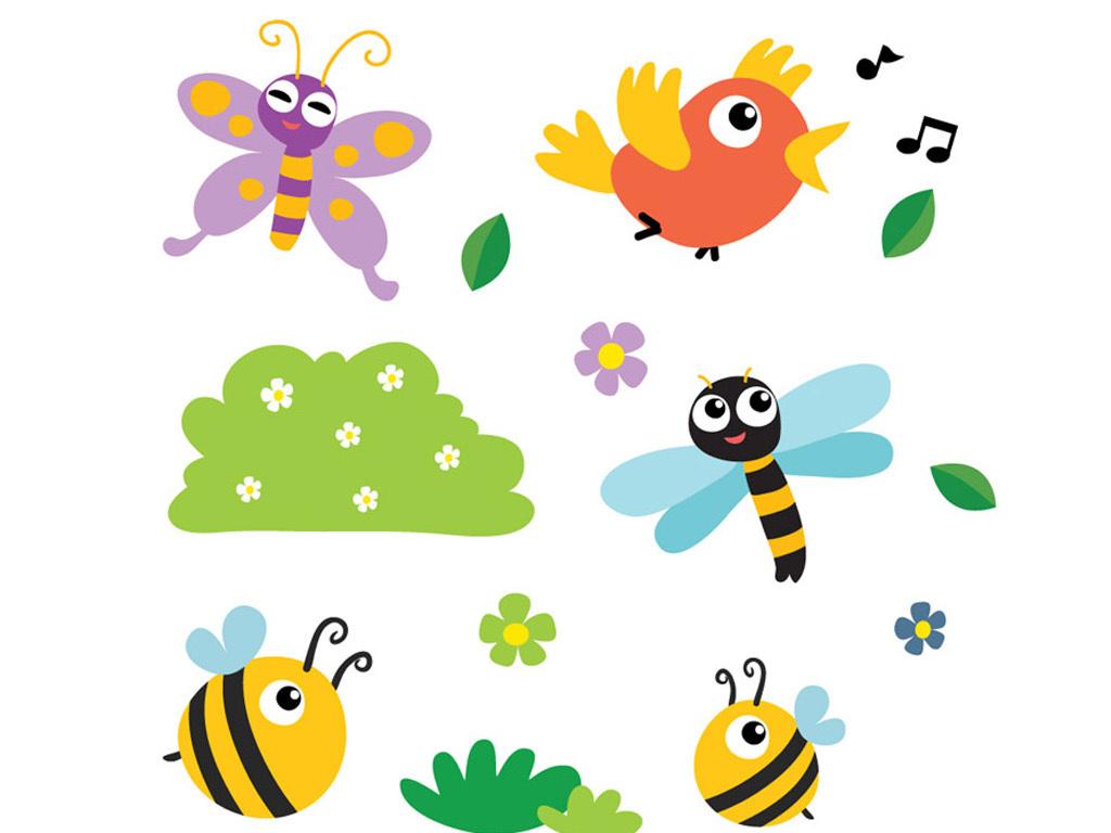 可爱素材矢量素材矢量鲜花蝴蝶蜜蜂小鸟矢量卡通动物