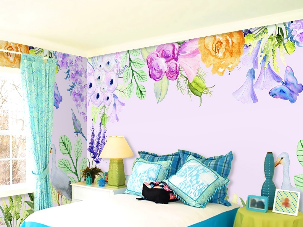 水彩手绘花鸟田园风背景墙
