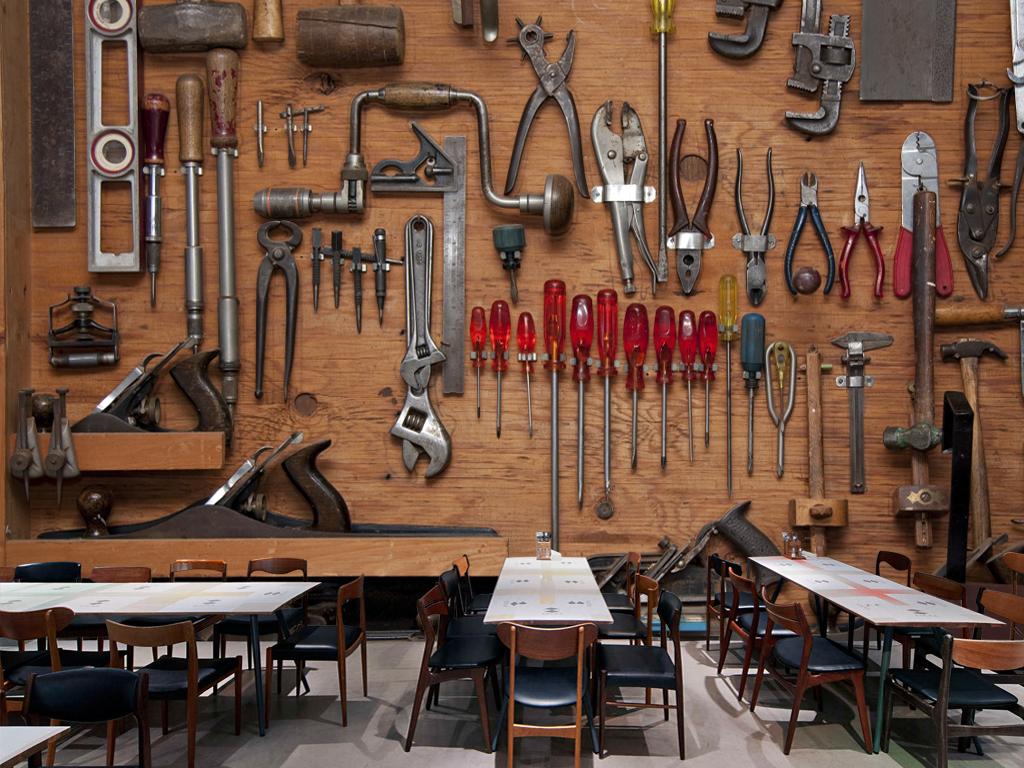 3d立体复古修理工具摩托汽车修理店背景墙